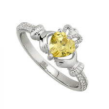 Hallmarked Sterling Silver November Birthstone Ring With Yellow Cubic Zirconia
