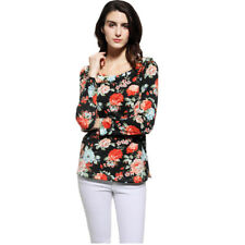 Fashion Hot Fall Women's Long Sleeve Crew Neck Flower Print Loose Blouse Tops