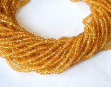 "Natural Citrine Gemstone Beads Rondelle Faceted Cut 13"" Strand Brazil 2mm To 3mm"