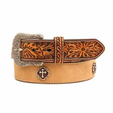 Ariat Western Mens Belt Leather Cross Concho Embossed Tan A1029448