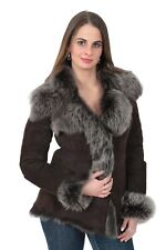 Womens Fitted Genuine Toscana Real Sheepskin Coat BROWN Sueded Shearling Jacket