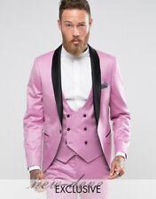 Fashion Pink Black  Men's Tuxedos Suits 3 Pieces Groom Party Work Custom 2017