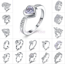 925 Sterling Silver Wedding Engagement Ring Jewelry Christmas Size M-Q R098