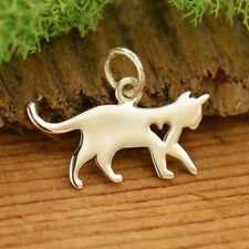 Cat Kitty Kitten Charm 925 Sterling Silver Silhouette Pendant for Necklace 1701