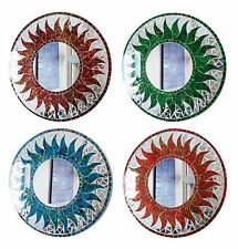 Round mosaic sun design wall mirror 40cm choice of colours-hand made in Bali-NEW
