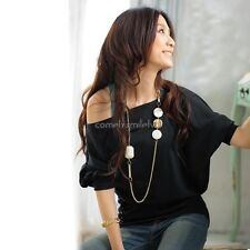 Sexy Women Trendy OFF-Shoulder Cotton Tops T-Shirt Buttons Blouse CLSV