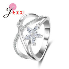 925 Sterling Silver Wedding Rings Flower Cubic Zircon Ring Engagement CB1