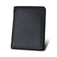 RFID Genuine Leather Men's Wallet Cowhide Travel Purse Black Bifold Wallet Coin