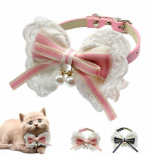 Big Lace Bowknot Pet Cat Dog Collar Leather Collar with Pearls Pendant Necklace