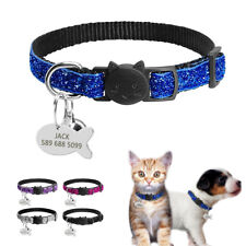 BingBling Sequins Breakaway Dog Collar Cat Collar With Personalized Dog ID Tags