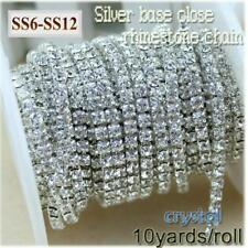 10yards Roll Clear Crystal Silver Base Rhinestone Chain apparel SS6-SS12(2mm-3m)