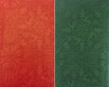 Symbols of Christmas Cheer on Red or Green Vinyl Flannel Bk Tablecloth Var Sizes