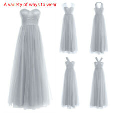 Women Mesh Long Ball Gown Maxi Dress Evening Cocktail Wedding Bridesmaid Party