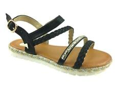 LADIES FLAT FAUX LEATHER BUCKLE UP STRAPPY SANDALS BLACK SIZE 5