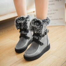 Womens Fur Trim Ankle Boots Strappy Buckle Wedge Heels Winter Faux Suede Shoes