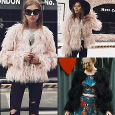 Women Open Front Long Sleeve Solid Fall Winter Faux Fur Coat Elagant NC89