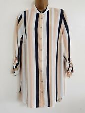 NEW Plus Size 16-28 Striped Nude Navy White Pink Crepe Chiffon Blouse Shirt Top