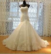 New White Ivory Lace Ball Gown Wedding Dress Bridal Gowns Size 6+8+10+12+14+16 u