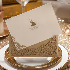 12pcs/lot Luxury Golden Laser Cut Wedding Invitations Elegant Weeding Invitation