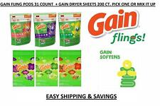 Gain Flings Laundry Detergent Pods + Gain Fabric Softner Sheets Free World Ship