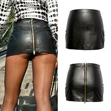 Sexy Solid Tight Short Faux Leather Straight Mini Skirt Dress Hot Women Bodycon