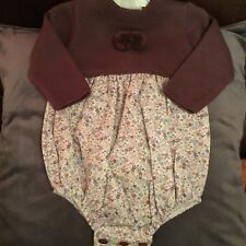 Spanish Baby Girls Knitted Romper All In One Plum Floral 3-6 6-12 12-18 18-24 M
