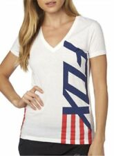 Fox Racing Ladies Red, White and True V-Neck Tee T-Shirt Top Summer Size XS-XL