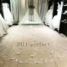 White Ivory Cathedral Wedding Bridal Veil Applique lace flower Crystal With Comb
