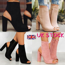 UK Women's Peep Toe Block High Heels Ankle Boots Chunky Sandal Shoes Zip Cut Out