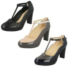 Ladies Clarks T-Bar Block Heel Smart Court Shoes The Style - Kendra Daisy