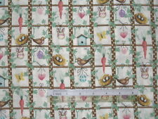 Bird house flower Bee Hive Spring cotton quilting fabric *Choose design size