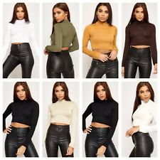 WOMENS POLO TURTLE NECK LONG SLEEVE CROP TOP T SHIRT LADIES PLAIN BASIC CROP TOP