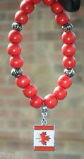 Car Hanging Canada Flag Pendant & Wood Wooden Beads Canadian Gift Souvenir