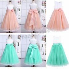 NEW Flower Girl Mesh Kid Dress Bowknot Princess Pageant Formal Bridesmaid Dress