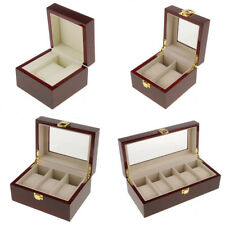 Wine Red Watch Case Display Box Wood Top Glass Jewelry Storage Organizer Gift