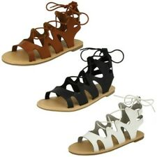 Ladies Spot On - Lace Up Leg Flat Gladiator Sandals