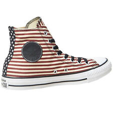 Unisex Converse All Star Hi Stripes Trainers Burgundy Mens Womens Various Sizes