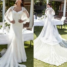 Gorgeous White Wedding Dress with Long Veil Lace Bead Mermaid Bridal Gown Custom