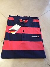 ELLESSE MENS BOLD STRIPE POLO SHIRT - SHORT SLEEVE - NAVY PINK - RRP £45 SALE