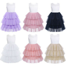 Flower Girls Lace Mesh TUTU Long Dress Kid Tiered Princess Pageant Wedding Party