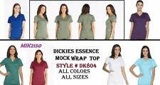 Dickies Scrubs Essence Women Mock Wrap Top  DK804 Choose Color and Sizes - NWT