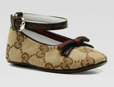 NIB NEW Gucci baby girls GG Mary Janes ballerina shoes brown 16 17 19 259989
