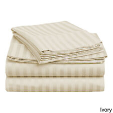 1000TC Egyptian Cotton 1pc  FITTED SHEET Sateen Cameo Stripe