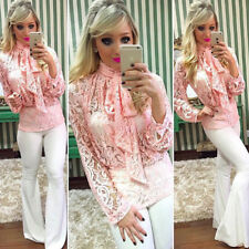 Womens Long Sleeve Blouse Top Ladies Casual Lace Halter Neck T-Shirt Loose Tops