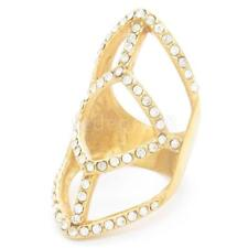 Punk Geometric Hollow  Crystal Rhinestone Knuckle Long Full Finger Ring