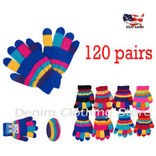 120pairs Boy Girl Children Striped Knit Magic Warm Winter Gloves Wholesale Lot