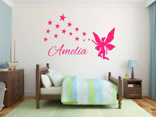 Fairy stars wall sticker Personalised any name kids art DECAL DECOR