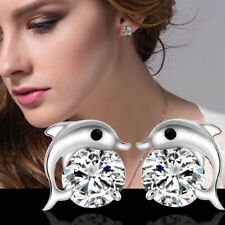Womens Cute Crystal Eyes Dolphin Stud Earrings Silver Plated New Fashion Jewelry