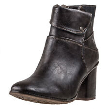 Mustang Heeled Ankle Boot Womens Brown Synthetic Casual Ankle Boots Zip