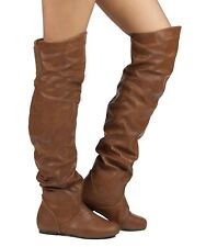 RF Room Of Fashion TrendHI-02 Vegan Slouchy Pullon Over-the-Knee Boots COGNAC PU